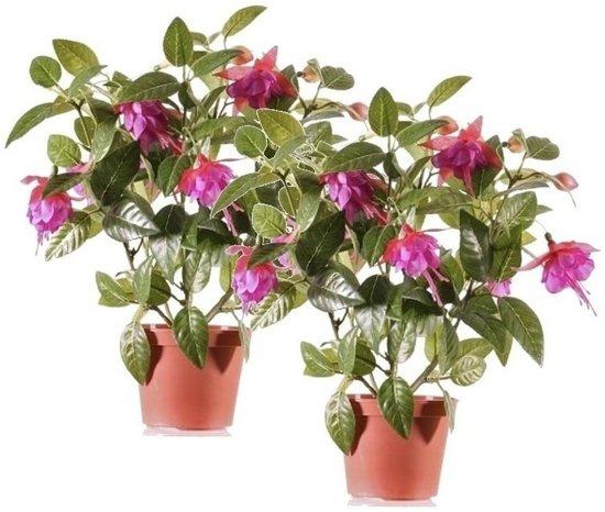 Bloemen In Pot.2x Fuchsia Kunstplant Donkerroze Bloemen In Pot 30 Cm Kunstplanten Nepplanten