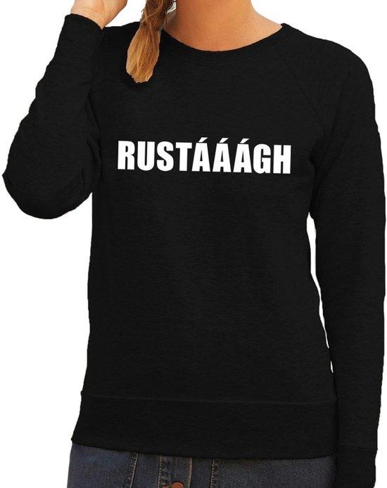 Rustaaagh tekst sweater / trui zwart voor dames L