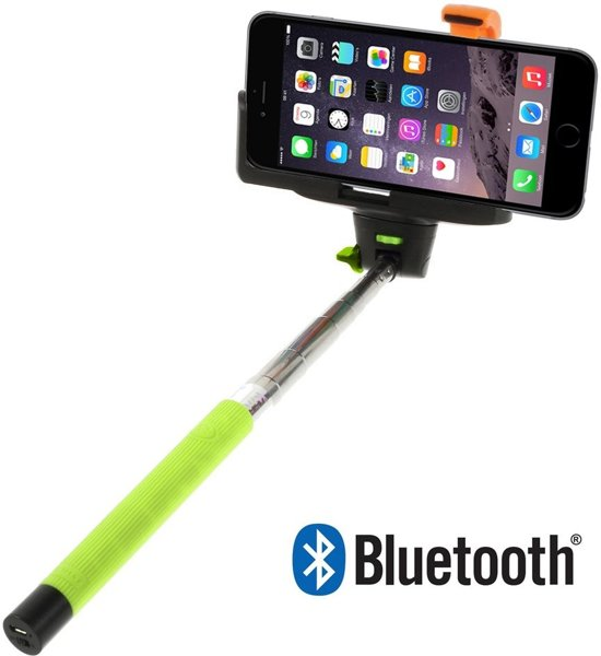 Shop4 - iPhone 6 Plus / 6s Plus - Selfie Stick Bluetooth Groen in Grijzegrubben