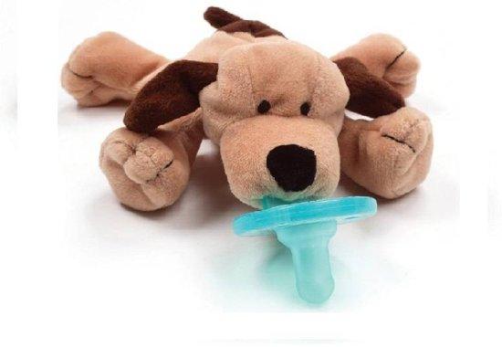 Wubbanub - Hond - Speenknuffel / Knuffelspeen / Fopspeen met knuffel / De Wubbanub wordt geleverd in een verzegeld geschenkdoosje - Winnaar beste babyproduct in 2014