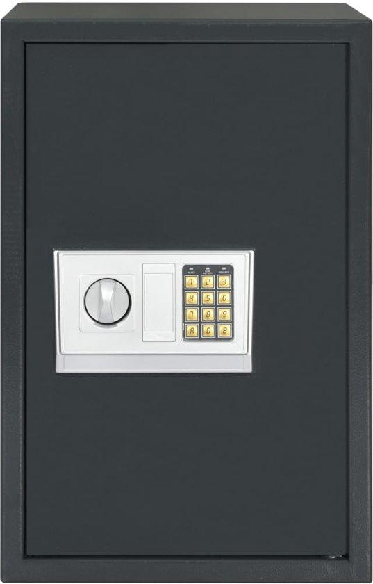 vidaXL Kluis digitaal 40x35x60 cm donkergrijs