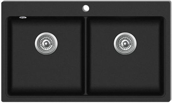Wasbak Keuken Opbouw : Bol.com vidaxl spoelbak opbouw graniet dubbele bak zwart