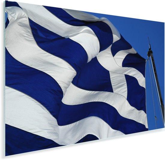 Griekse vlag op Akropolis Plexiglas 30x20 cm - klein - Foto print op Glas (Plexiglas wanddecoratie)