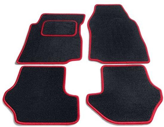 PK Automotive Complete Naaldvilt Automatten Zwart Met Rode Rand Toyota Yaris 3/5 deurs 2006-2011