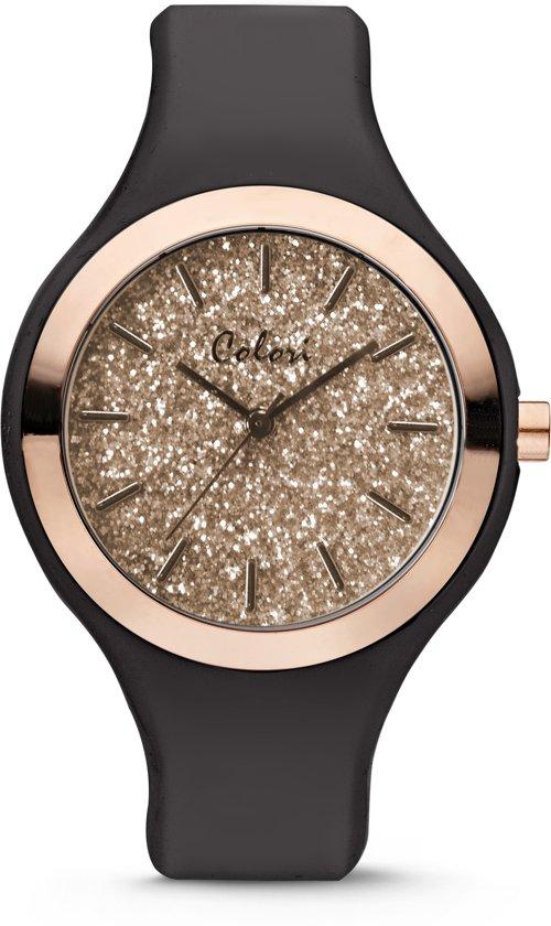 Colori Macaron 5-COL515 - Horloge - siliconen band - zwart - 44 mm