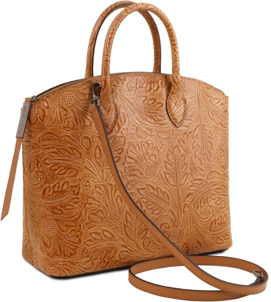 Handtas Dames Floral Leather Met Tl141670 GaiaCognac Design Lederen Tuscany srxQohCtdB