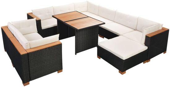 Lounge Bank Eettafel.Tuin Loungeset Zwart Rattan 32 Delig Met Tafel Lounge Bank Tuin Tuinbank Loungebank Tuinset