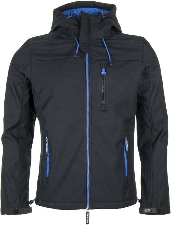 Superdry Hooded Windtrekker Softshell  Outdoorjas - Maat XL  - Mannen - zwart/blauw