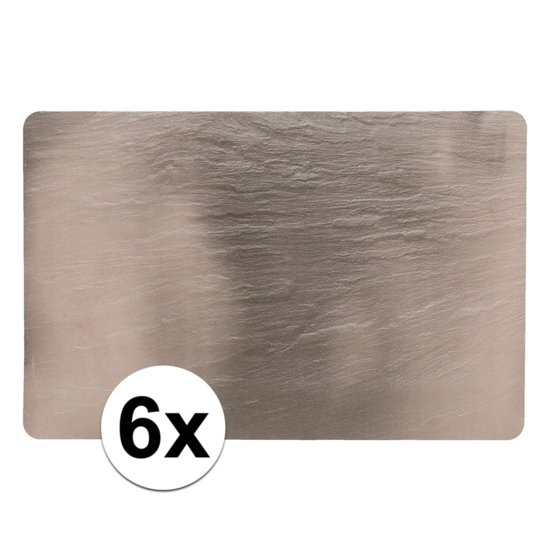 6 placemats leisteen look 44 x 29 cm