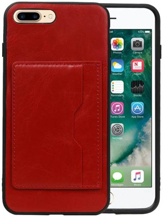 6bc099196b0 bol.com | Staand Back Cover 1 Pasjes iPhone 7 Plus / 8 Plus Rood