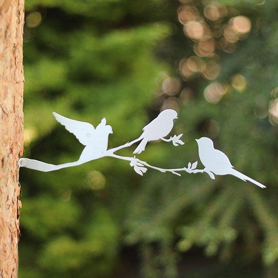 Vogelsilhouet op Bloesemtak RVS - By Aimy Birds - 32 x 11 cm BxH