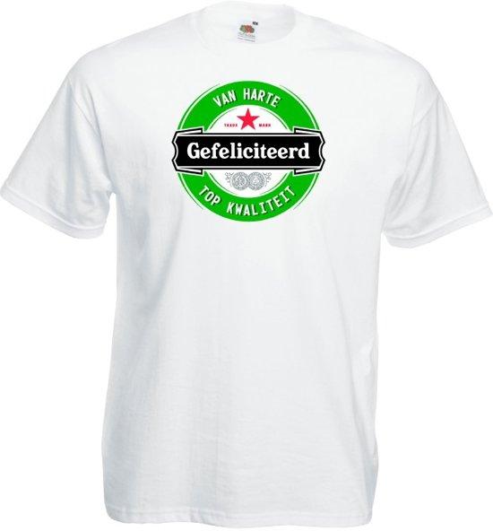 Mijncadeautje T-shirt - Gefeliciteerd (logo) - Unisex Wit (maat 3XL)
