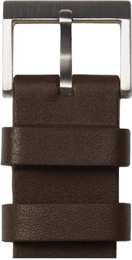 Tube watch T32 steel / brown leather strap