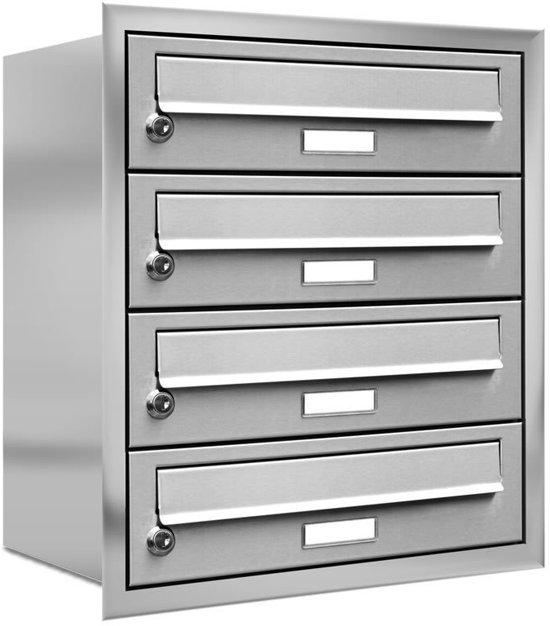 4-vier personen adressen brievenbus inbouw RVS