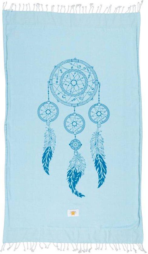Mycha Ibiza – Strandlaken – strandhanddoek – kikoy – dromenvanger – blauw – 100% katoen – badstof