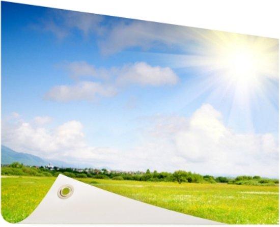 De weide in de zomer Tuinposter 120x80 cm - Tuindoek / Buitencanvas / Schilderijen voor buiten (tuin decoratie)
