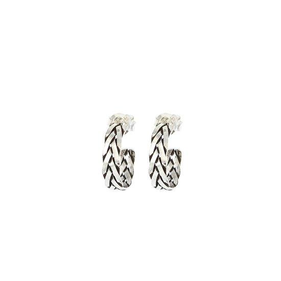 Karma 925 Sterling Zilveren Symbols XL Braid Hoops Oorknoppen  - Zilver