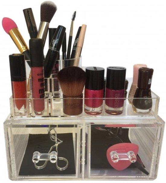 BEAUTYCUBE - Beauty organizer - Make-up organizer - Acryl Organizer Transparant / Clear met 2 lades make up opbergen - make up opbergbox / opbergbak / opbergsysteem