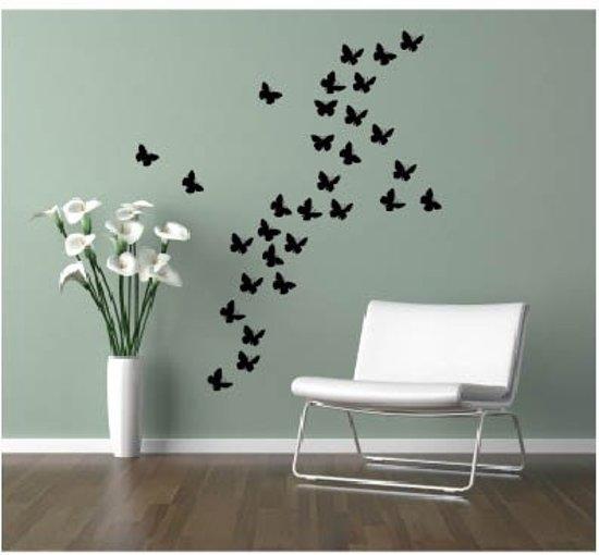 Decoratie Aan De Muur.Elegante Vlinder Muur Decoratie Zwart