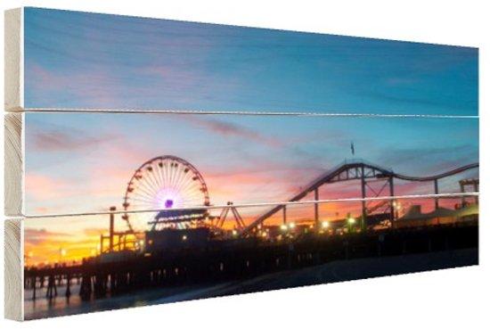 Santa Monica Pier Los Angeles Hout 120x80 cm - Foto print op Hout (Wanddecoratie)