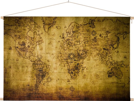 Historische nautische wereldkaart op schoolplaat 90x60 cm platte latten - Textielposter