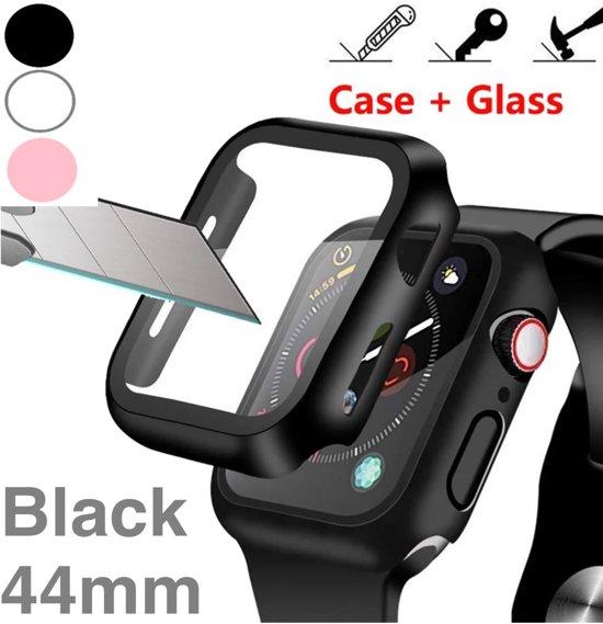 Screenprotector Apple watch 44 mm / Apple watch case hoesje zwart