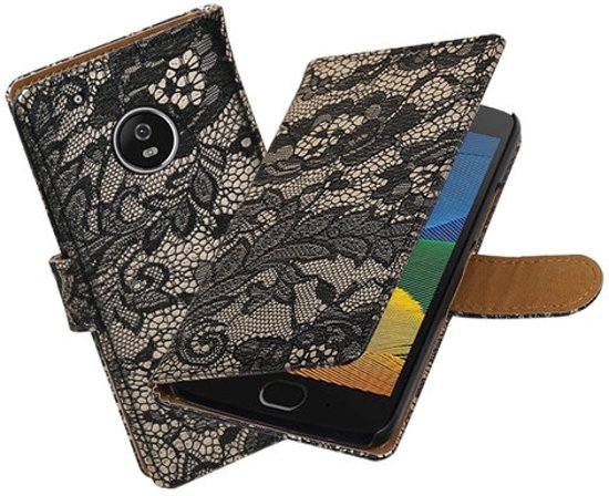 BestCases.nl Motorola Moto G5 Lace booktype hoesje Zwart in Surhuizum / Surhuzum