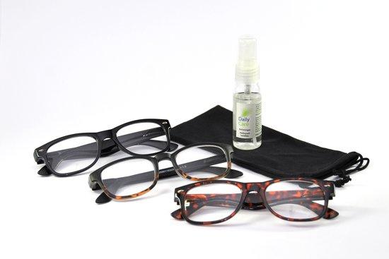 Leesbril bruin/zwart +1.00 - 3 stuks - met briletui en brilspray