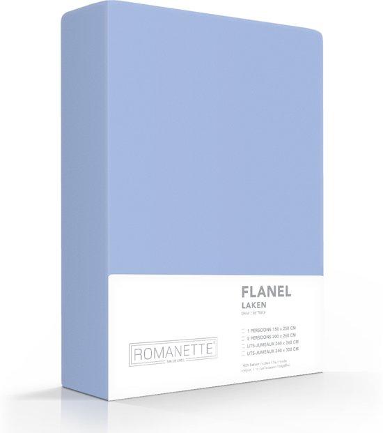 Romanette flanellen laken - Blauw - Lits-jumeaux (240x260 cm)