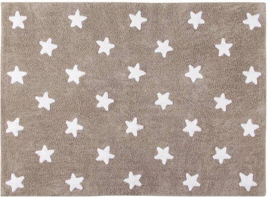 Lorena canals vloerkleed grijs witte sterren 160x120 cm vloerkleden tapijten kopen - Tapijt babykamer ...