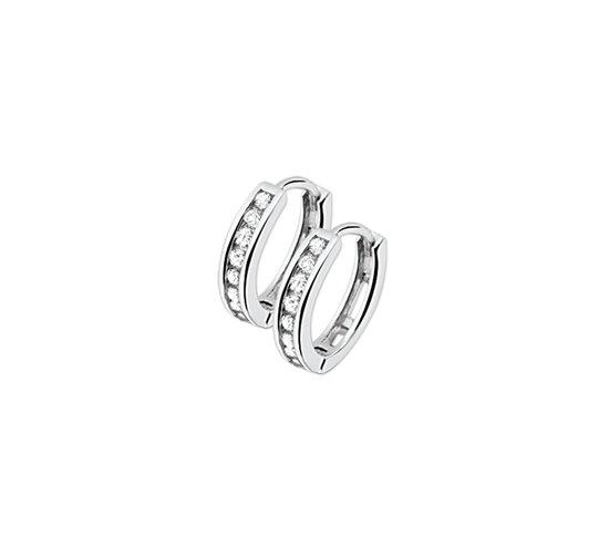 The Jewelry Collection Klapoorringen Zirkonia - Zilver Gerhodineerd