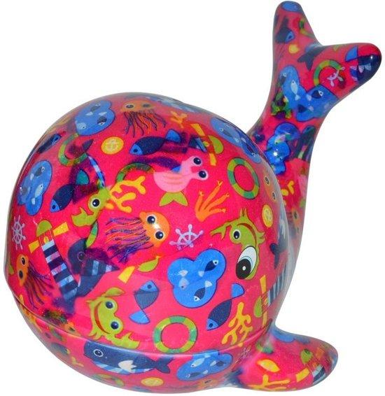 Pomme Pidou spaarpot walvis Moby - Uitvoering - Fuchsia met zee thema