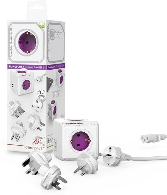PowerCube Rewireable Duo USB multifunctionele wereld reisstekker travel adapter
