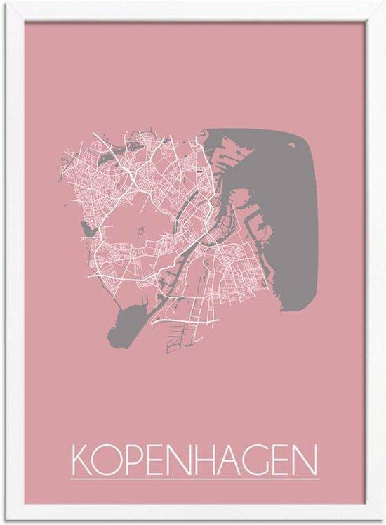 Plattegrond Kopenhagen Stadskaart poster DesignClaud - Roze - A4 + fotolijst wit
