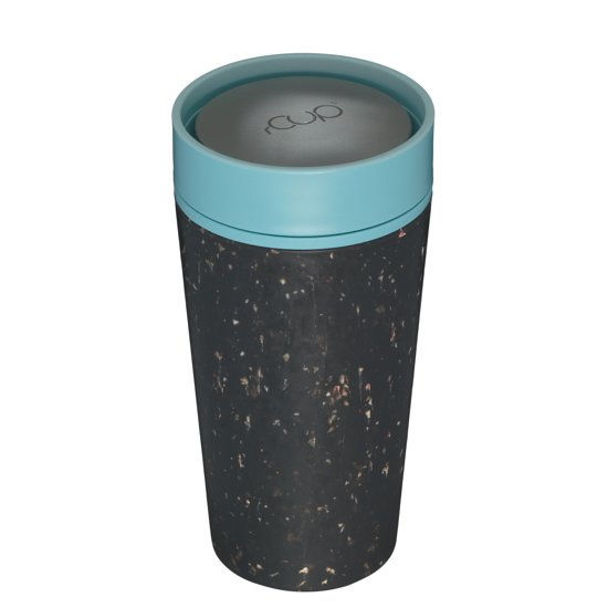 rCUP herbruikbare to go beker van gerecyclede koffiebekers zwart/blauw 12oz/340ml