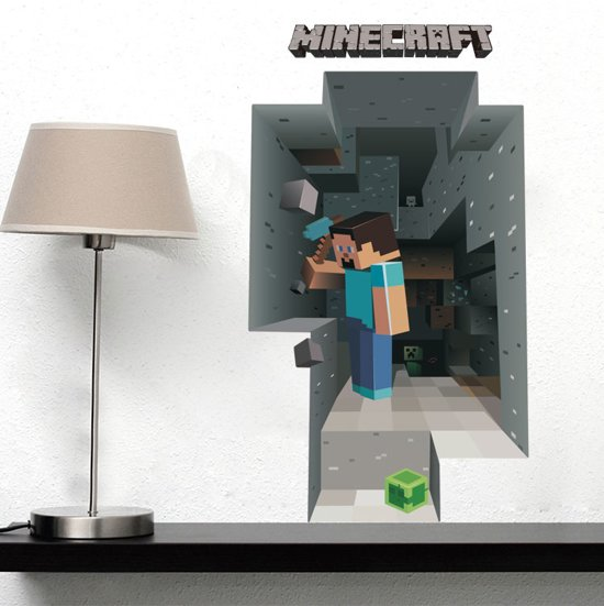 muursticker minecraft 3d cartoon huisdecoratie slaapkamer
