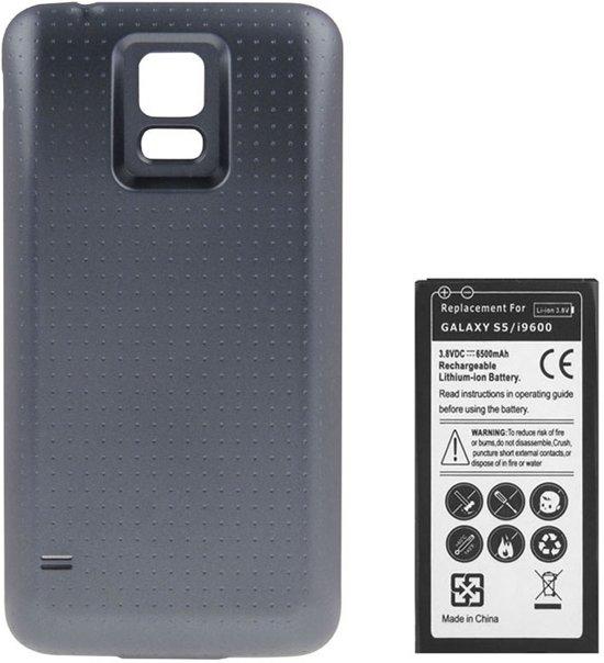 6500mAh vervangende mobiele telefoonbatterij met dekselachterdeur voor Galaxy S5 / G900 (donkergrijs)