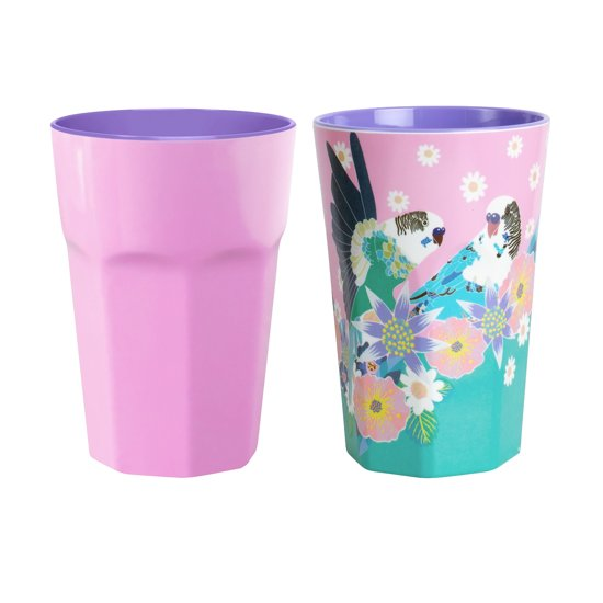 GINGER  Singing with the Birds XL cups - 2 bekers - roze