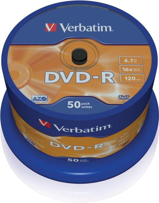 Verbatim DVD-R 4.7Gb 120min 16x - 50 Stuks / Spindel
