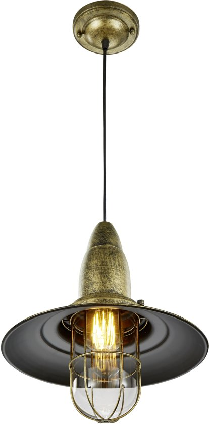 TRIO, Hanglamp, Fisherman 1xE27, max.28,0 W Glas, Transparant helder, Armatuur: Metaal, Brons Ø:32,0cm, H:150,0cm