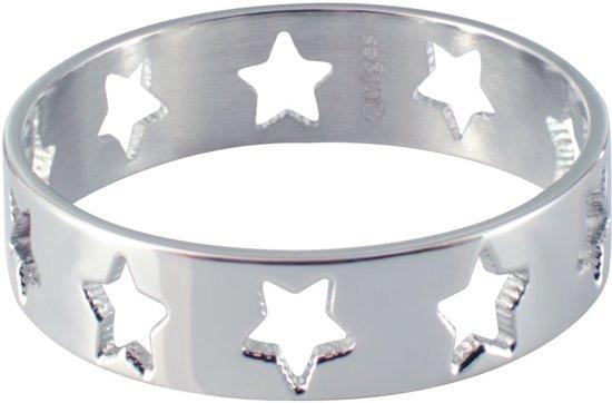 Quiges Stapelring Ring - Vulring Sterren - Dames - RVS zilverkleurig - Maat 21 - Hoogte 6 mm