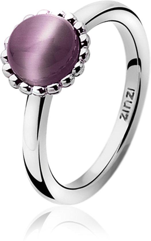 Zinzi - Smalle Zilveren Ring - Paarse Cateye - Maat 62 (ZIR793P62)