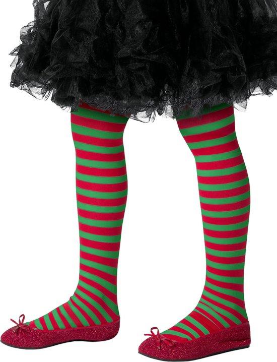 Groen en rood gestreepte panty voor kinderen - Verkleedattribuut