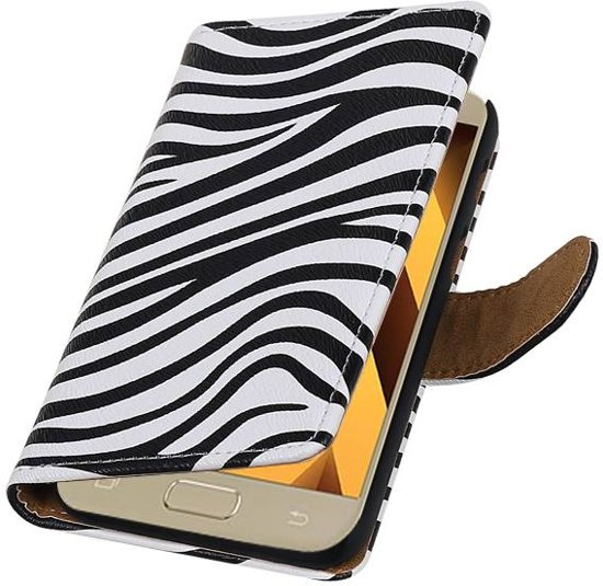 Samsung Galaxy A3 2017 A320F Wit | Zebra bookstyle / book case/ wallet case Hoes  | WN™