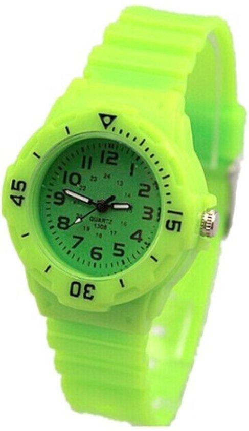 horloge kind 8 jaar bol.| Leuk sportief kinderhorloge Ø 30 mm groen I deLuxe  horloge kind 8 jaar