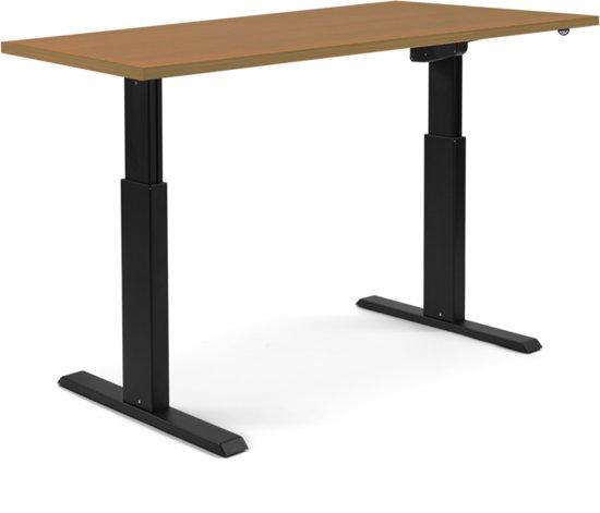 Zit sta bureau 180x80 cm   beuken   zwart frame   A140 elektrisch