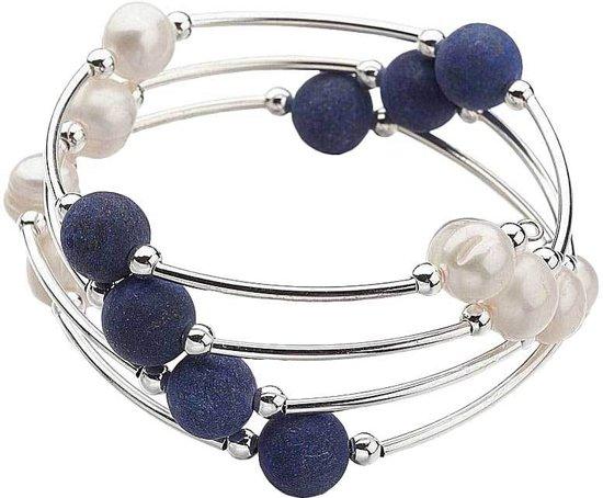Zoetwater parel armband met edelstenen Wrap Big Lapis Lazuli Pearl