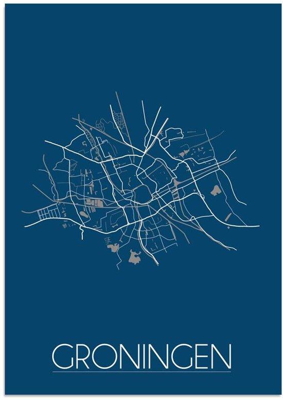 Plattegrond Groningen Stadskaart poster DesignClaud - Blauw - B2 poster