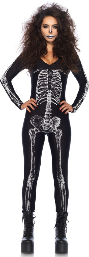 X-Ray Skeleton catsuit kostuum zwart/wit - Kostuum Party Halloween - L - Leg Avenue