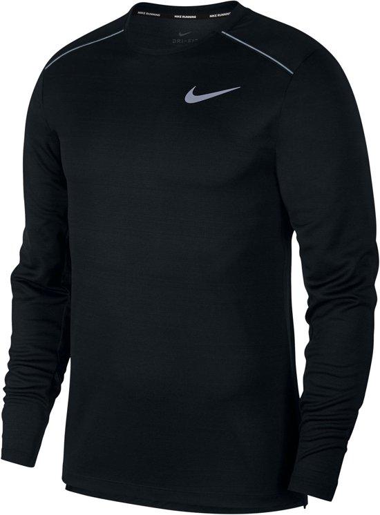 Nike Dry Miler Top Ls Sportshirt Heren - Zwart - Maat XL